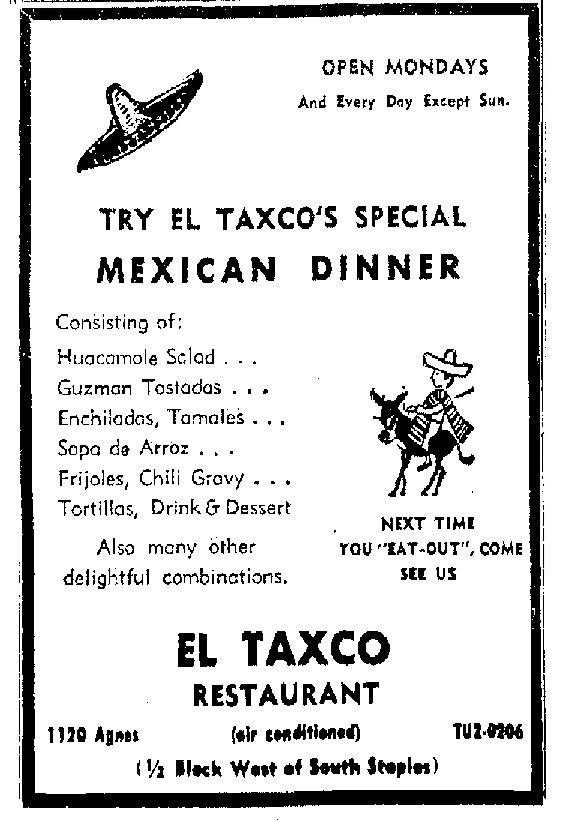 in the 1962 ad mexican food has been a part of agnes since restaurants advertised air conditioning and the phone number prefixes started with letters